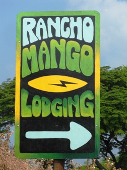 This is the Rancho Mango sign you will see from the dirt road.
